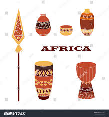 Decorative Pitchers Set Popular African Itemsdecorative Pitchers Drums Stock Vector