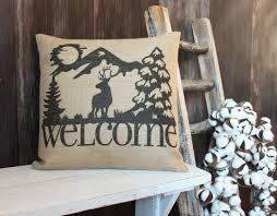 Burlap Decorative Pillows Rustic Style Elk Welcome Burlap Throw Pillow W Elk And Mountains