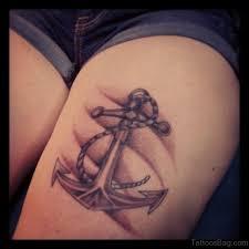fantastic anchor tattoos on thigh
