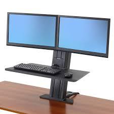 2 Monitor Computer Desk Ergotron 33 419 085 Workfit Sr Dual Monitor Sit Stand Desktop