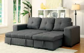 Pull Out Chair Denton Contemporary Style Gray Fabric Sofa Sectional W Pull Out Bed
