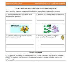 Photosynthesis And Cellular Respiration Worksheet All Worksheets Chapter 4 Photosynthesis And Cellular Respiration
