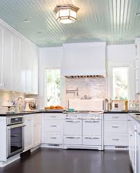 beadboard ceiling in kitchen eclectic with farm sink brown kitchen