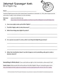 Bill Of Rights Worksheet Answers Education Scavenger Hunt The Bill Of Rights