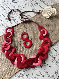 red chain link necklace images Tagua nut red link necklace and earrings set galapagos tagua jewelry jpg