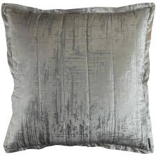 Moderne Rug Cleaning Lili Alessandra Moderne Ivory Velvet Silver Print Quilted Pillow