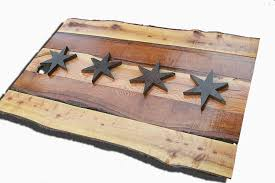 chicago home decor handmade live edge wooden chicago flag vintage art distressed