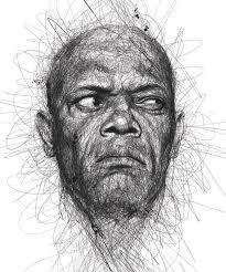 doodle art portraits of famous movie actors by vince low samuel