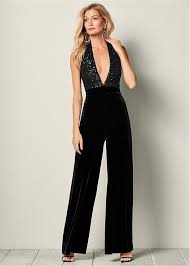 formal jumpsuit sequin detail jumpsuit in black venus