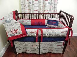 Custom Boy Crib Bedding Custom Airplane Crib Bedding Set Aiden Boy Baby Bedding