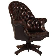 tufted leather desk chair regency style tufted leather office chair at 1stdibs