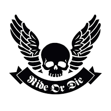 skull ribbon 20x17 2cm ride or die skull wings ribbon originality vinyl decal