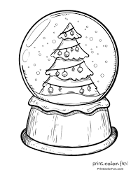 a christmas snow snow globe with a christmas tree coloring page print color