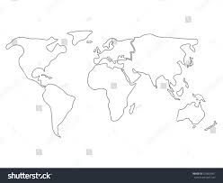 Blank African Map by World Map Divided Six Continents Black Stock Vector 524826901