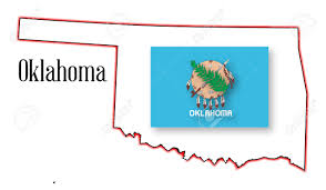Usa State Map by Outline Map Of The Usa State Of Oklahoma With Flag Inset Royalty