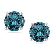 blue diamond stud earrings miadora signature collection 14k white gold 1ct tdw blue diamond