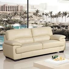 STRADA Ivory Cream Leather Sofa Collection - Cream leather sofas