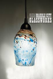 hanging glass pendant lights luxurious kitchen blue speckled hand blown glass pendant light