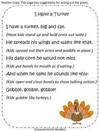 turkey poem 1st grade poem kindergarten poems and