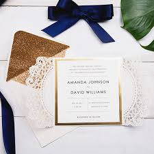 invitation paper luxury pearl white laser cut wedding invitations with navy blue