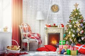 a beautiful living room decorated for christmas stock photo