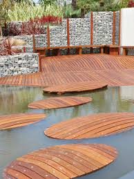 wooden floating path for walkway to unique backyard deck cool