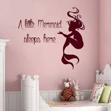 mermaid wall decals quote a little mermaid sleeps here vinyl decal mermaid wall decals quote a little mermaid sleeps here vinyl decal sticker home interior design baby girl nursery room bedding decor kg843