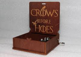 Engraved Music Box Crows Before Hoes Engraved Wooden Music Box Game Of