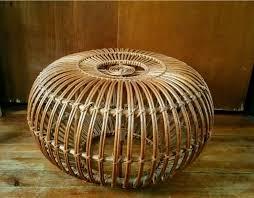 vtg franco albini mid century modern wicker rattan ottoman stool