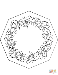 petrykivka pattern coloring page free printable coloring pages