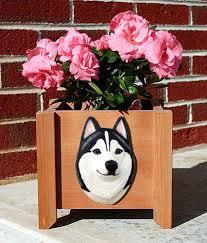 siberian husky planter flower pot black white