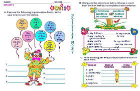 grammar worksheets grade 2 possessive nouns