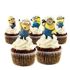 minions cake toppers 12 stand up edible minion cupcake toppers edible