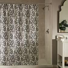 bathroom urban ikat shower curtain with tile floor and pedestal