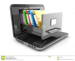 Free Filing Cabinet Data Storage Laptop And File Cabinet With Ring Binders Royalty