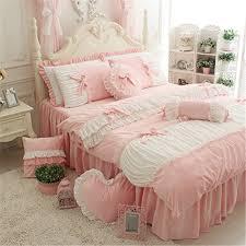 auvoau cute girls short plush bedding set romantic white ruffle
