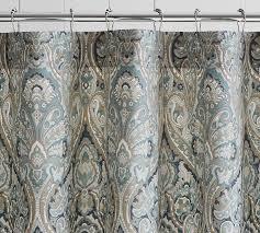 Shower Curtain Blue Brown Mackenna Shower Curtain Pottery Barn