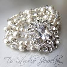wedding bracelet pearl images Pearl and crystal rhinestone cuff bridal bracelet brooch focal jpg