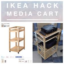 Ikea Hack Charging Station Create A Media Cart From A Molger Birch Cart You Can Get From Ikea