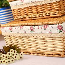 home decoration use rectangular wicker material fabric storage