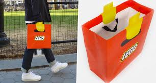 the design of these lego shopping bags is 100 genius