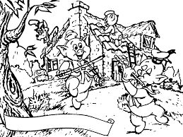 3 little pigs scene coloring page wecoloringpage