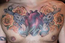 gun tattoo u2013 gun roses heart chest piece design tattooshunter com