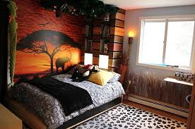 themed rooms ideas fabulous safari themed kids bedroom with sunset wall decal