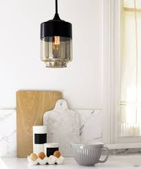 Drexel Heritage Mosaic Lamps by Lunar 1 Light Large Cylinder Pendant In Black Smoke For The