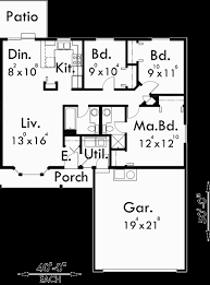 duplex plans with garage in middle main floor plan for d 353 one story duplex house plans 3 bedroom