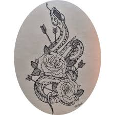 calm dotwork snake with roses and arrows design