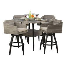 Patio High Table And Chairs Rst Brands Cannes 5 Piece All Weather Wicker Patio Bar Height