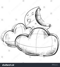 sketch weather icons two clouds moon stock vector 80890252