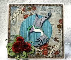 cricut art nouveau hummingbird birthday card